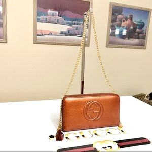 GUCCI GG PATTERN Grained Leather Long Wallet/Crossbody Bag 💼